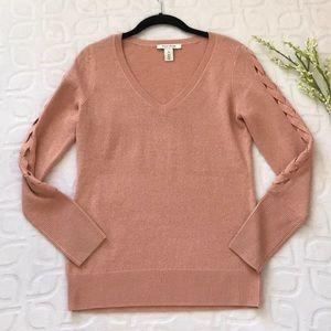 WHBM Salmon Metallic Knit Braided Sweater XS